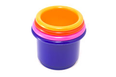 Toy buckets. Multi-coloured toy buckets on a white background royalty free stock images