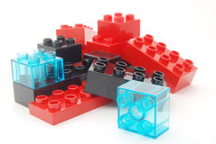 Toy building blocks. Toy Lego building blocks in red, black and blue colors Stock Photo