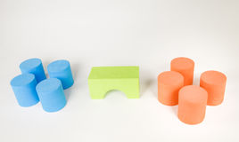 Toy building blocks. With bridge against a white background royalty free stock image