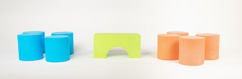 Toy building blocks. With bridge against a white background stock image