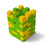 Toy building blocks castle tower 3D. Toy building blocks fortress tower 3D isolated on white royalty free illustration