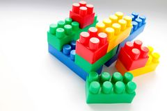 Toy building blocks on the table. Image of toy building blocks on the table royalty free stock images