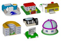 Toy buildings isolated on white background, render Royalty Free Stock Photography