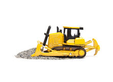 Toy bulldozer. Isolated on white background Royalty Free Stock Photography