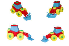 Toy, the bulldozer for snow cleaning. Royalty Free Stock Photos