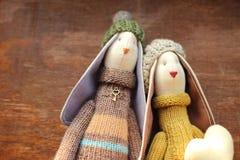Toy bunnies Stock Photos