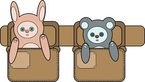 A toy Bunny and bear the bags on the belt stock illustration