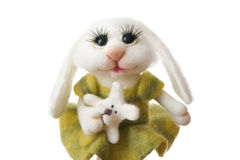 Toy bunny in a gift Royalty Free Stock Images