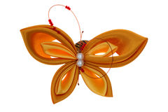 Toy butterfly made of ribbons Stock Image