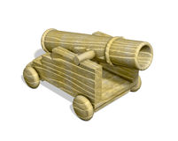 Wood cannon toy cart isolated Stock Photography