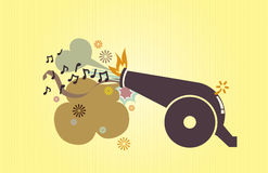 Toy cannon. With celebrated element vector illustration