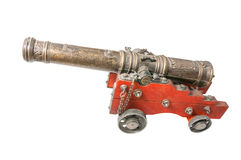 Toy cannon. Isolated on white background stock photo