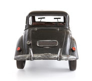 Toy Car. Classic english style toy car, isolated on white. Back view Stock Photos