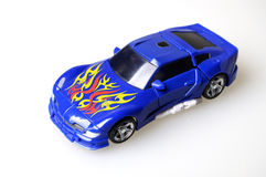 Toy Car. Blue toy car on white background stock photos