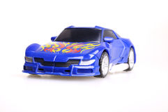 Toy Car. Blue toy car on white background royalty free stock photography