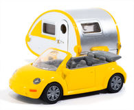 Toy Car. A toy car with a camper royalty free stock photography