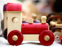 Toy car. Wooden toy car, a handicraft item Stock Image