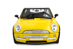 Toy car. Yellow model car - front view Stock Image