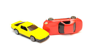 Toy car accident. cars in crash Stock Photos