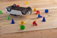 Toy car accident.jpg. Toy car accident car insurance concept.jpg Royalty Free Stock Photos