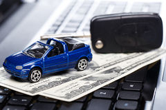 Toy car and banknotes Royalty Free Stock Photo