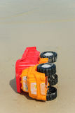 A toy car on a beach Stock Photos