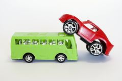 Toy car and buss. Isolated in the foreground Stock Images