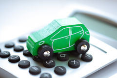 Toy car and calculator Royalty Free Stock Images