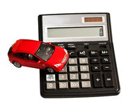 Toy car and calculator Royalty Free Stock Image
