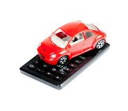 Toy car and calculator concept for insurance, buying, renting, fuel or service and repair costs