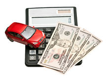 Toy car and calculator Royalty Free Stock Photos