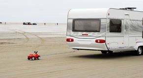 Toy car and caravan Royalty Free Stock Photos