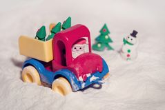 Toy car with a Christmas stock images