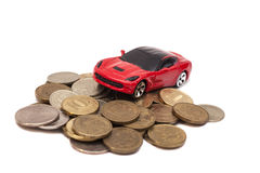 Toy car with coins Stock Photo