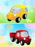 Toy car and delivery cargo truck Royalty Free Stock Photos