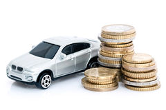 Toy car and Euro coins Royalty Free Stock Image