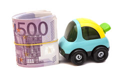 Toy car with euro money Stock Image