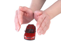 Toy car in female hands Royalty Free Stock Images