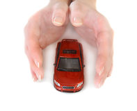 Toy car in female hands. Red toy car in female hands Royalty Free Stock Photos