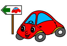 Toy car on green way Royalty Free Stock Photos