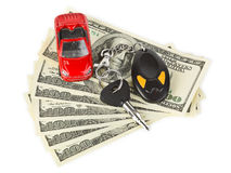Toy car, keys and money Stock Image