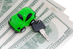 Toy car, keys and money isolated Stock Photos