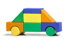 Toy Car, Kids Simple Jigsaw, Colors Wooden Blocks Isolated Royalty Free Stock Images