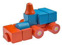 Toy car made from colored wooden blocks Royalty Free Stock Image