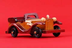 A toy car made of wood Stock Images