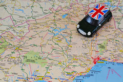 Toy car on the map. Travel theme Stock Photo