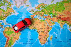 Toy car on the map Stock Photo