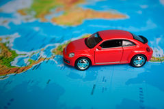 Toy car on the map Stock Image