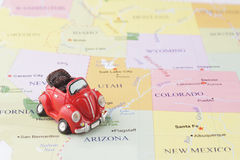 Toy car on map. Toy car on the Usa map Royalty Free Stock Images