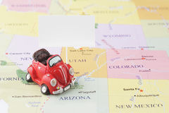 Toy car on map. Toy car on the Usa map Stock Photography